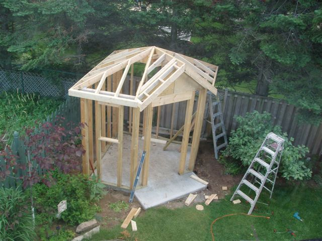 Framing A Modified Pyramid Roof Without Trusses General Discussion Contractor Talk Backyard Buildings Corner Summer House Backyard Sheds