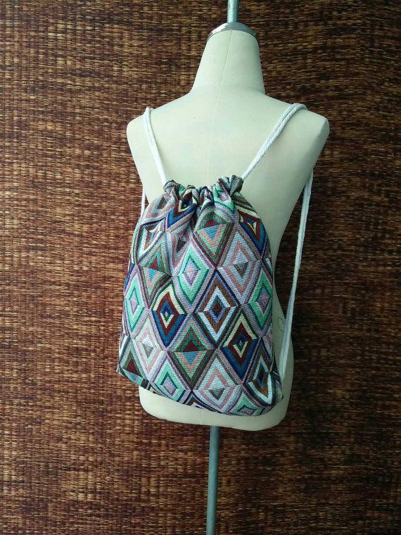 Boho Aztec Drawstring Backpack Ethnic Tribal Style fabric Festival ... 6e41198358