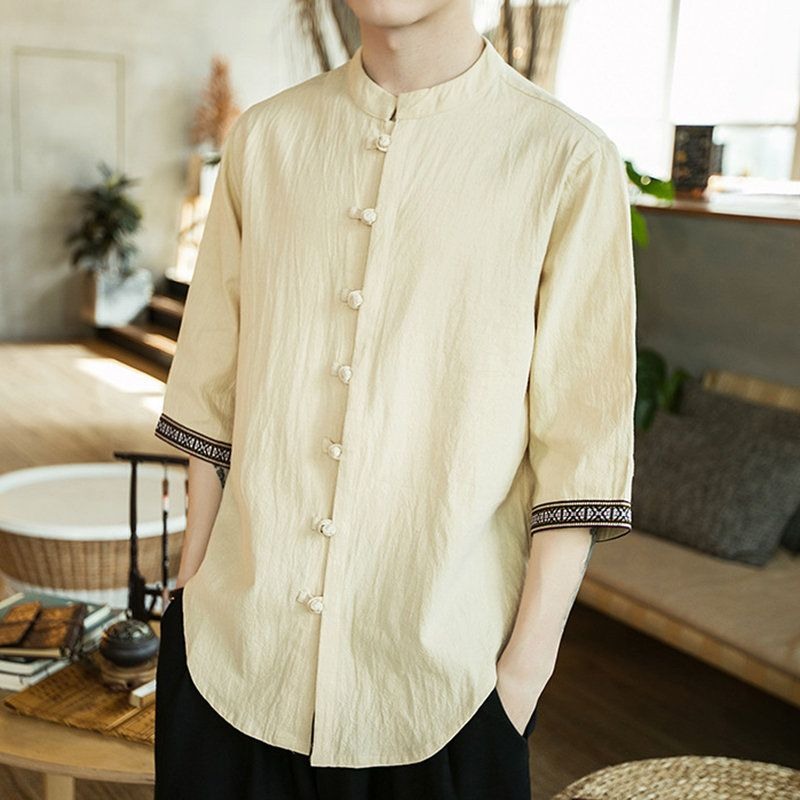 Mens Retro Cotton Fashion Chinese Style Linen Slim Fit Casual Half-Sleeves Shirt ,