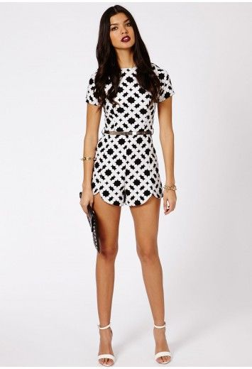 0bf763b6fe2 Rute Monochrome Print Playsuit - Jumpsuits   Playsuits - Clothing -  Missguided