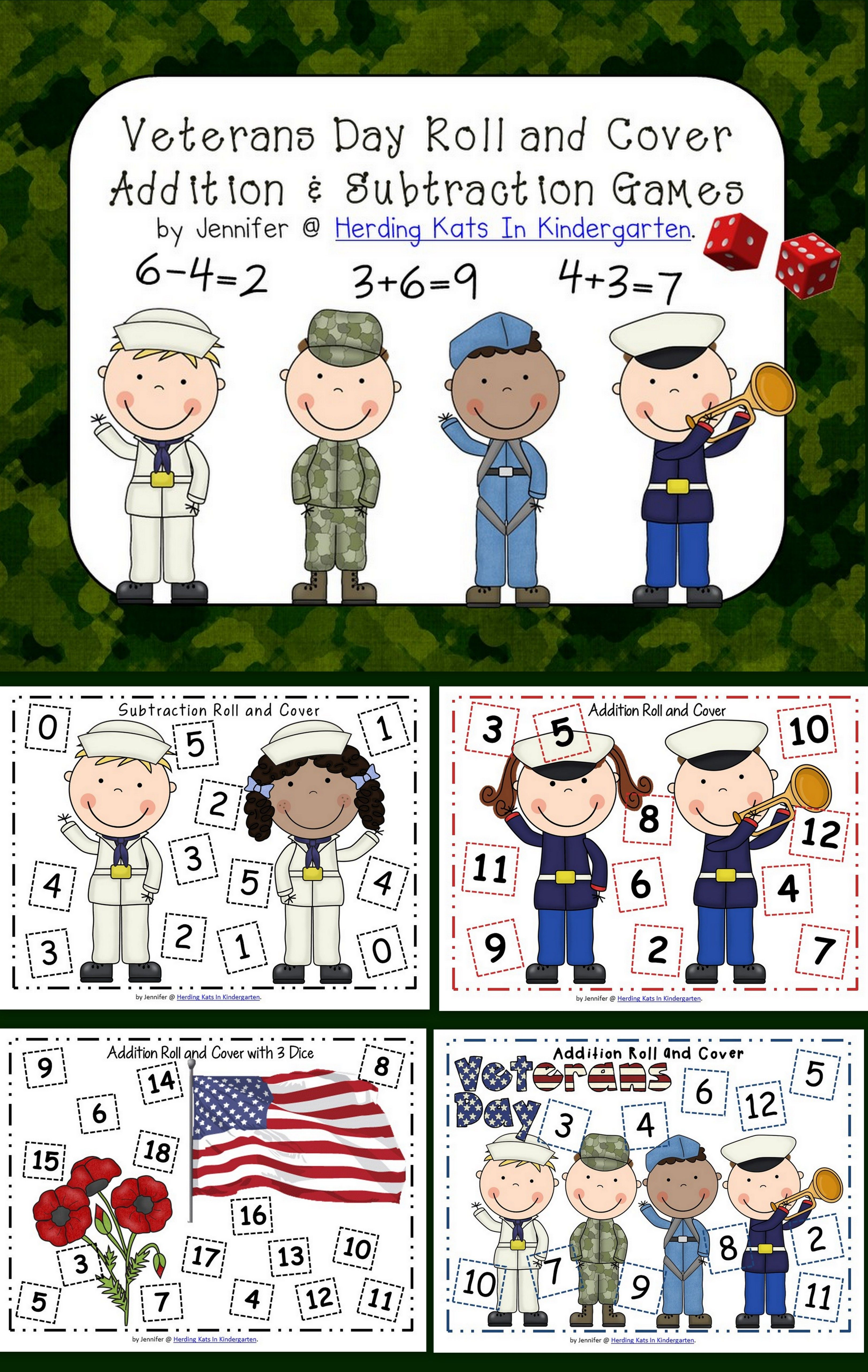 Veterans Day Math Roll Amp Cover Games