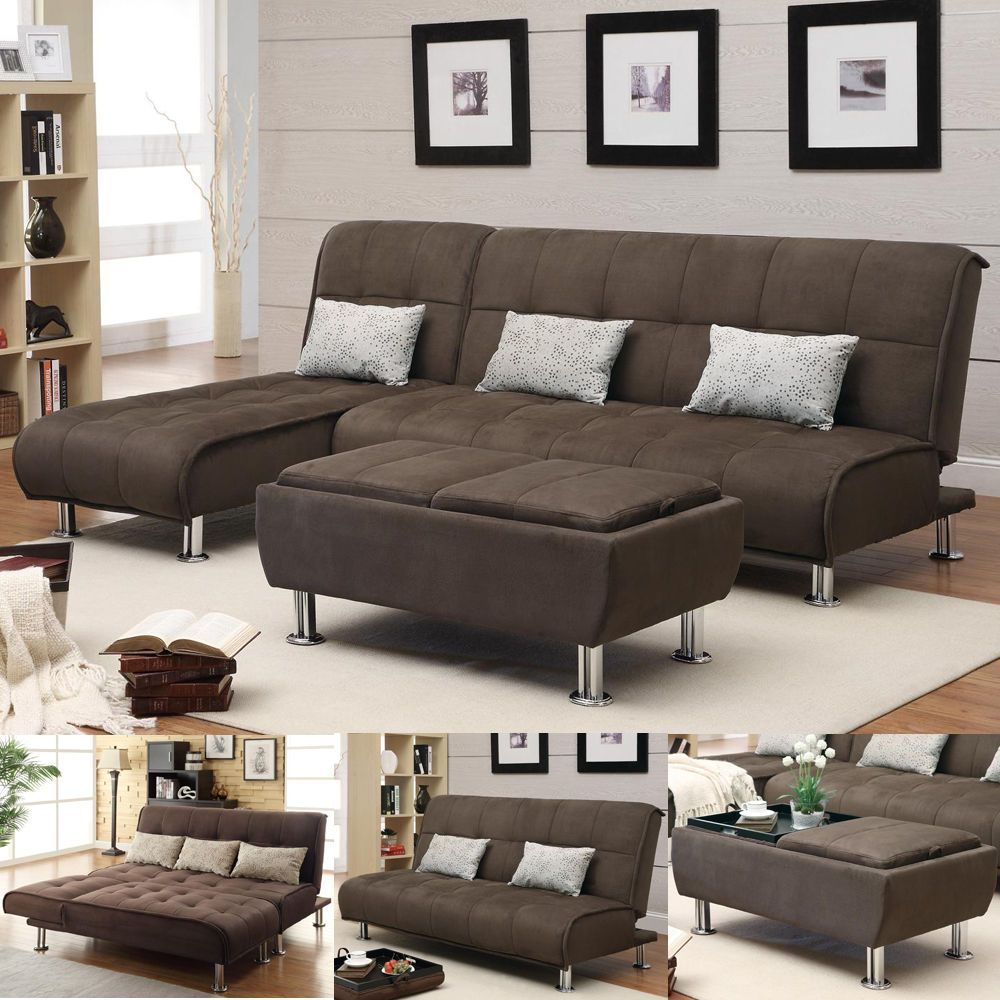 Brown Microfiber 3 Pc Sectional Sofa Futon Couch Chaise Bed Sleeper Ottoman Set Sofa Bed With Chaise Futon Sectional Sofa Bed Brown