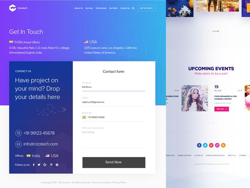 Cizotech Contact Us Page Design Contact Us Page Design Modern Web Design Web Design