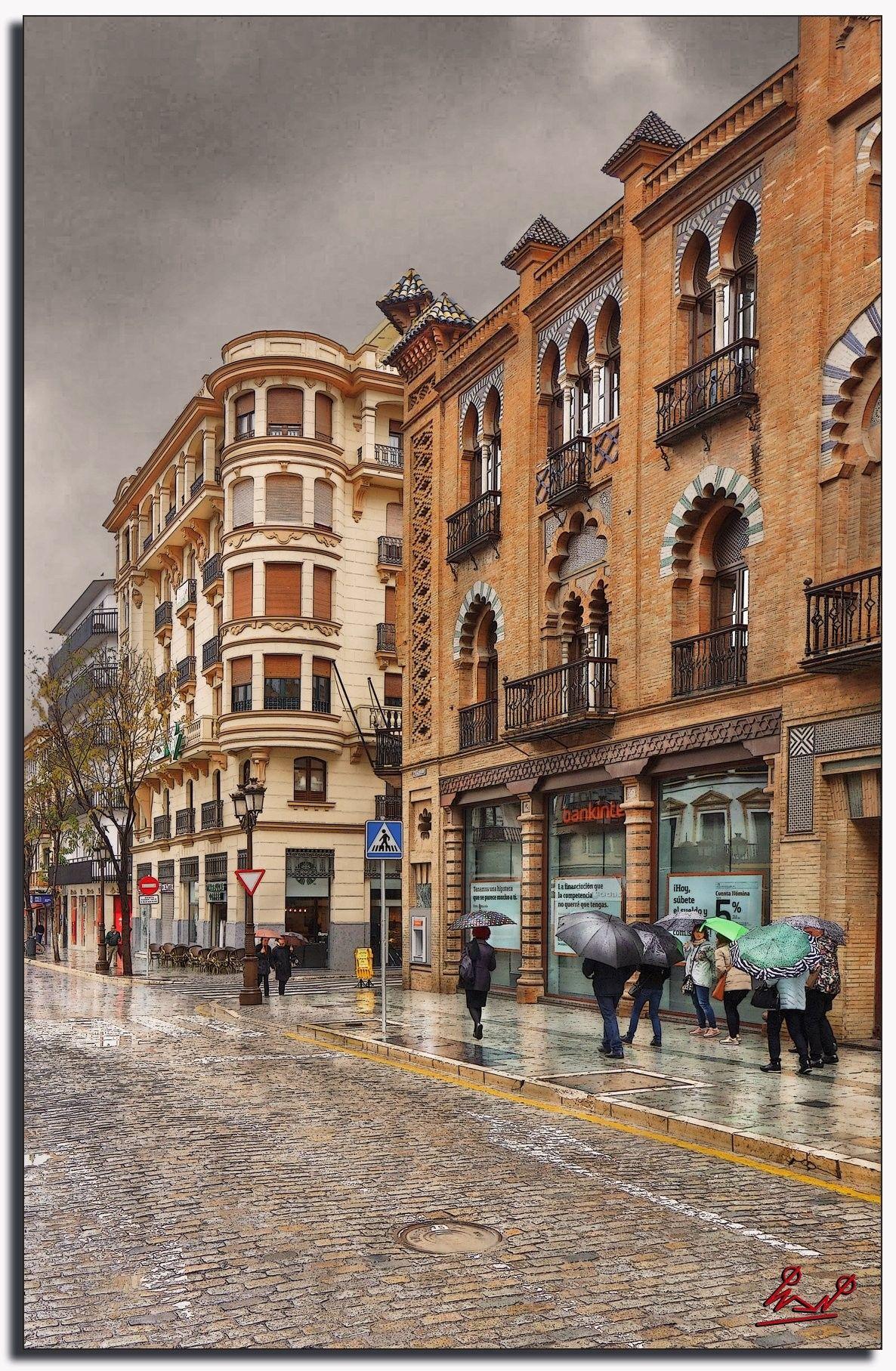 Paseando Un Día De Lluvia Por La Calle Martin Villa Sevilla España Sevilla España