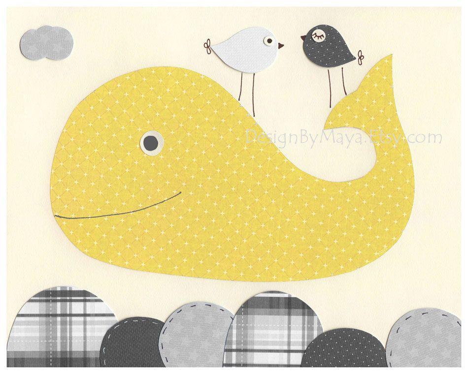 Whale Nursery Art Decor, Nursery Print, Bathroom Art, Baby Whale ...