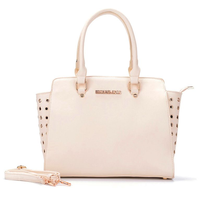 low-cost Michael Kors Selma Top-Zip Grommet Large White Satchels sales  online,
