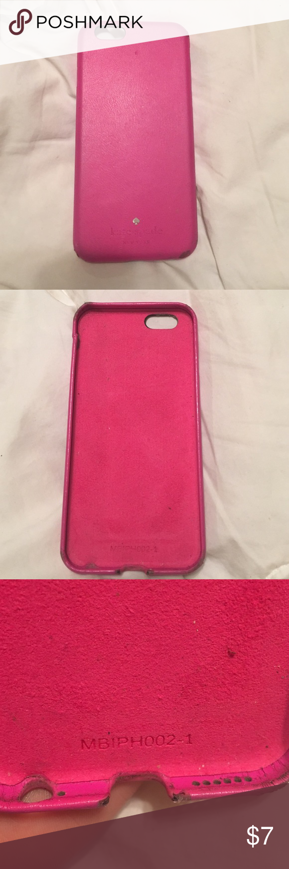 Kate spade iPhone 6/6S phone case Pink. Kate spade iPhone 6/6S phone case. It's definitely used. Has some scuffs on corners which is why it is very cheap. However, it's not in horrible condition so here it is :) kate spade Accessories Phone Cases