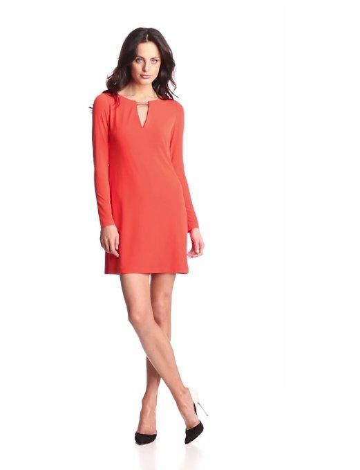 2f1adc80a587ec Amazon.com: Vince Camuto Women's Long-Sleeve Shift Dress with Keyhole Neck  and Hardware: Clothing