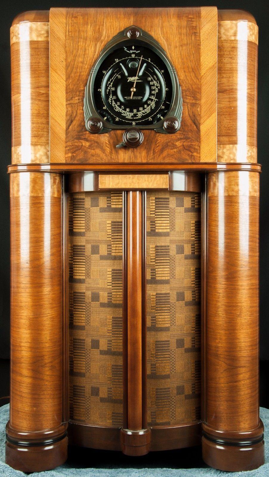 Zenith 1938 12 Tube Shutter Robot Dial Vacuum Tube Console Radio Restored Wor Ebay Vintage Radio Antique Radio Retro Radios