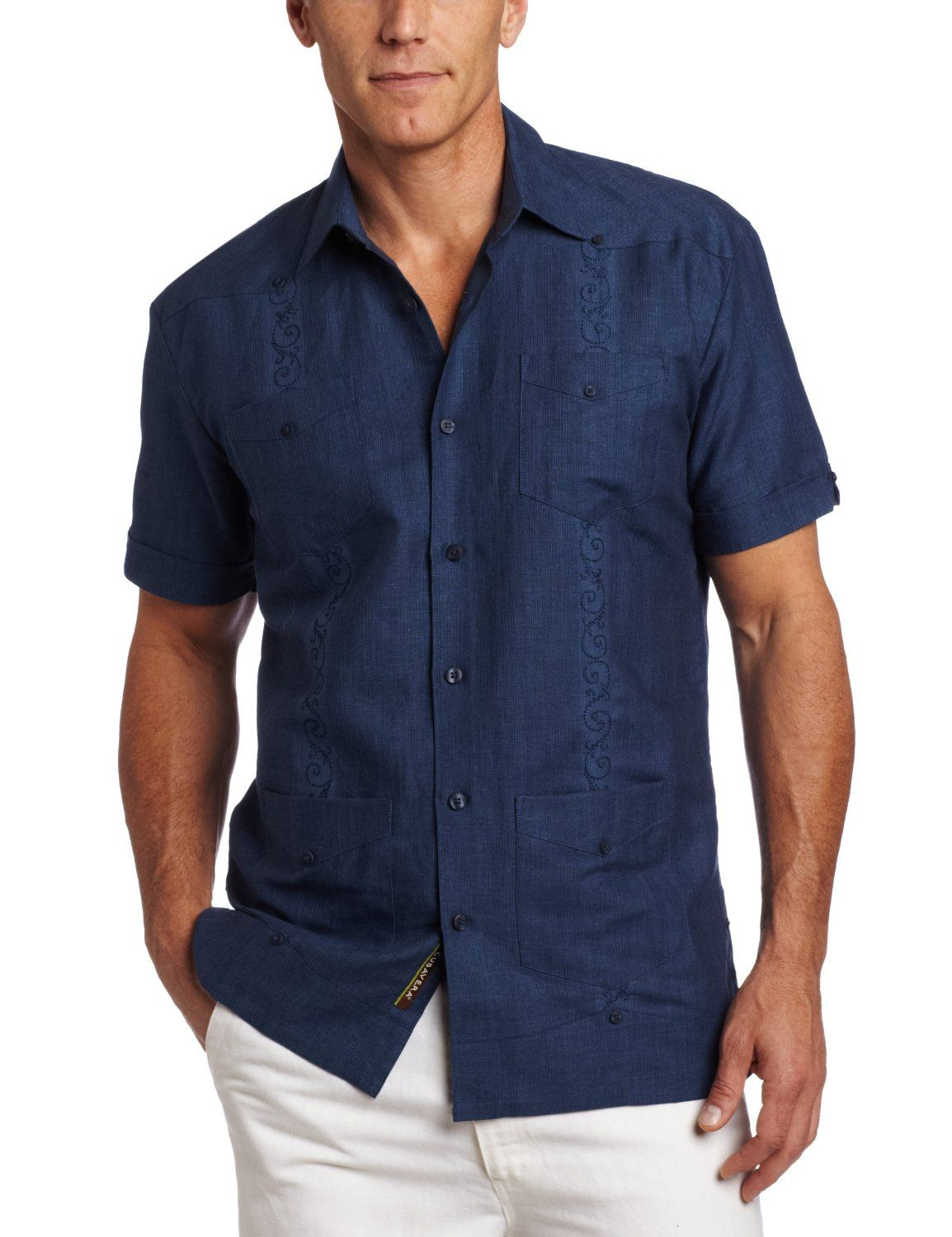 8ca6d84ea9 Amazon.com  Cubavera Men s Short Sleeve Stripe Guayabera Shirt ...