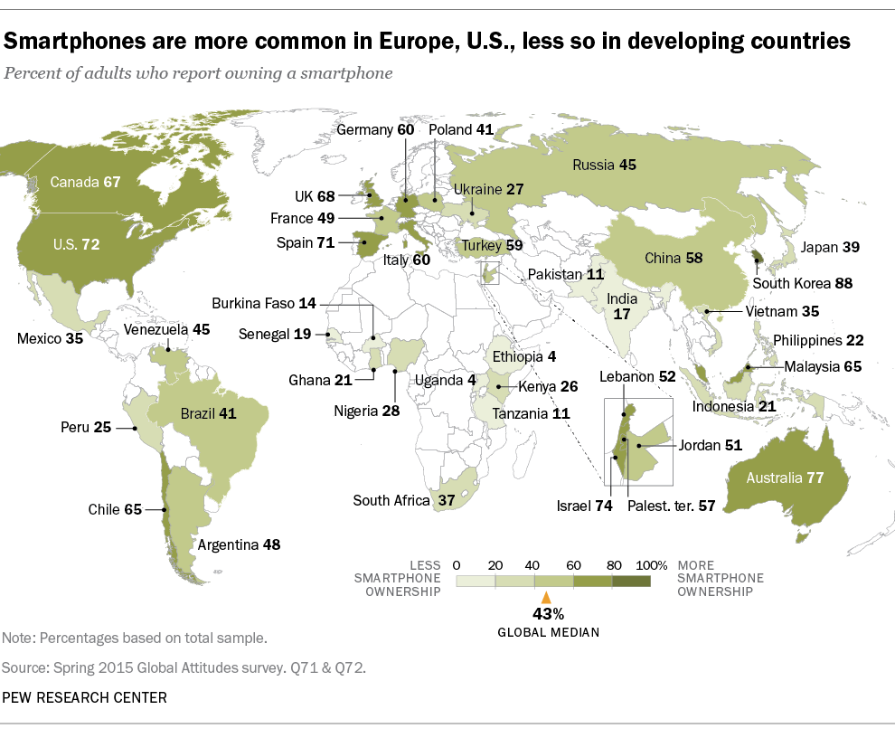 Smartphone ownership and internet usage continues to climb in smartphone ownership and internet usage continues to climb in emerging economies pew research center world mapsthe gumiabroncs Gallery