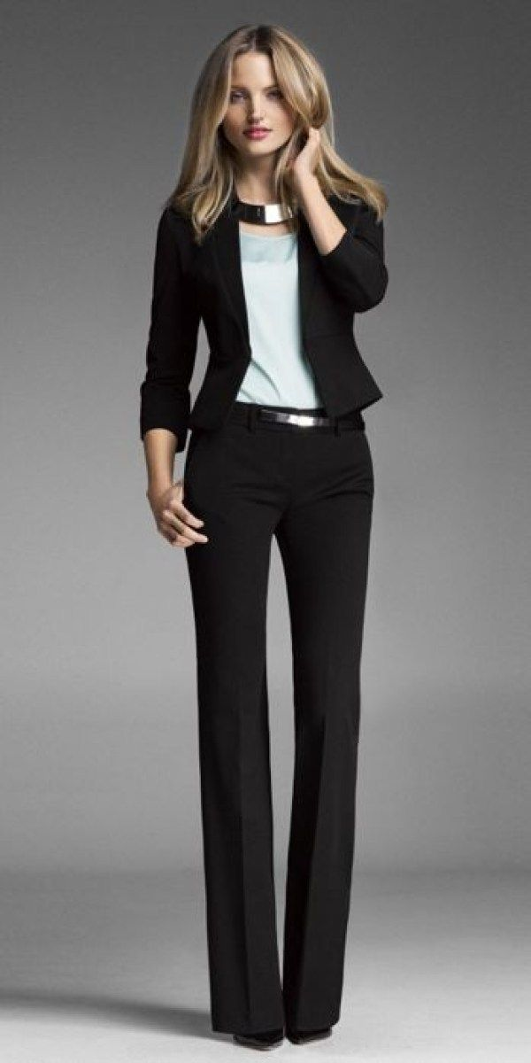 Work outfits · This is definitely my go to interview look. Black dress  pants, a black blazer - This Is Definitely My Go To Interview Look. Black Dress Pants, A