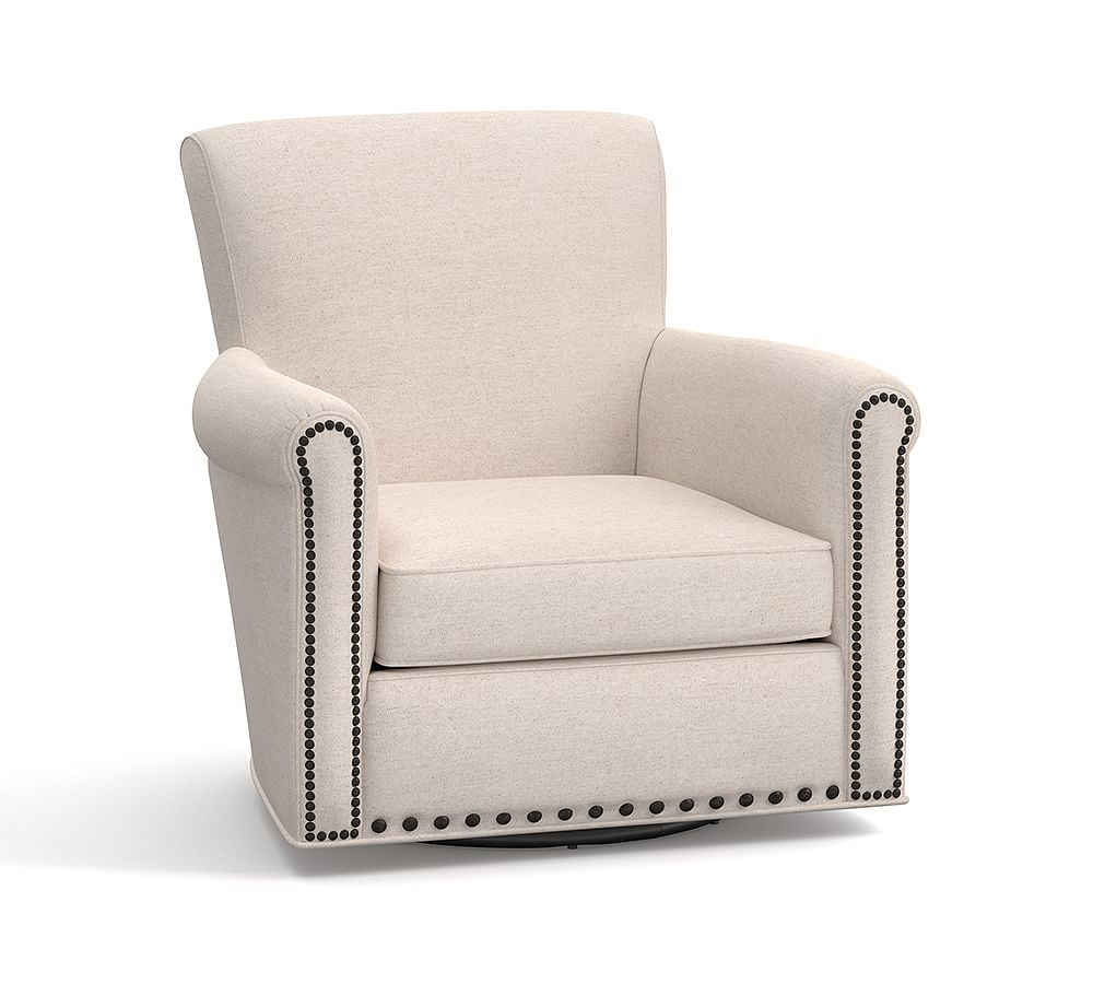 Irving Roll Arm Upholstered Swivel Armchair With Nailheads