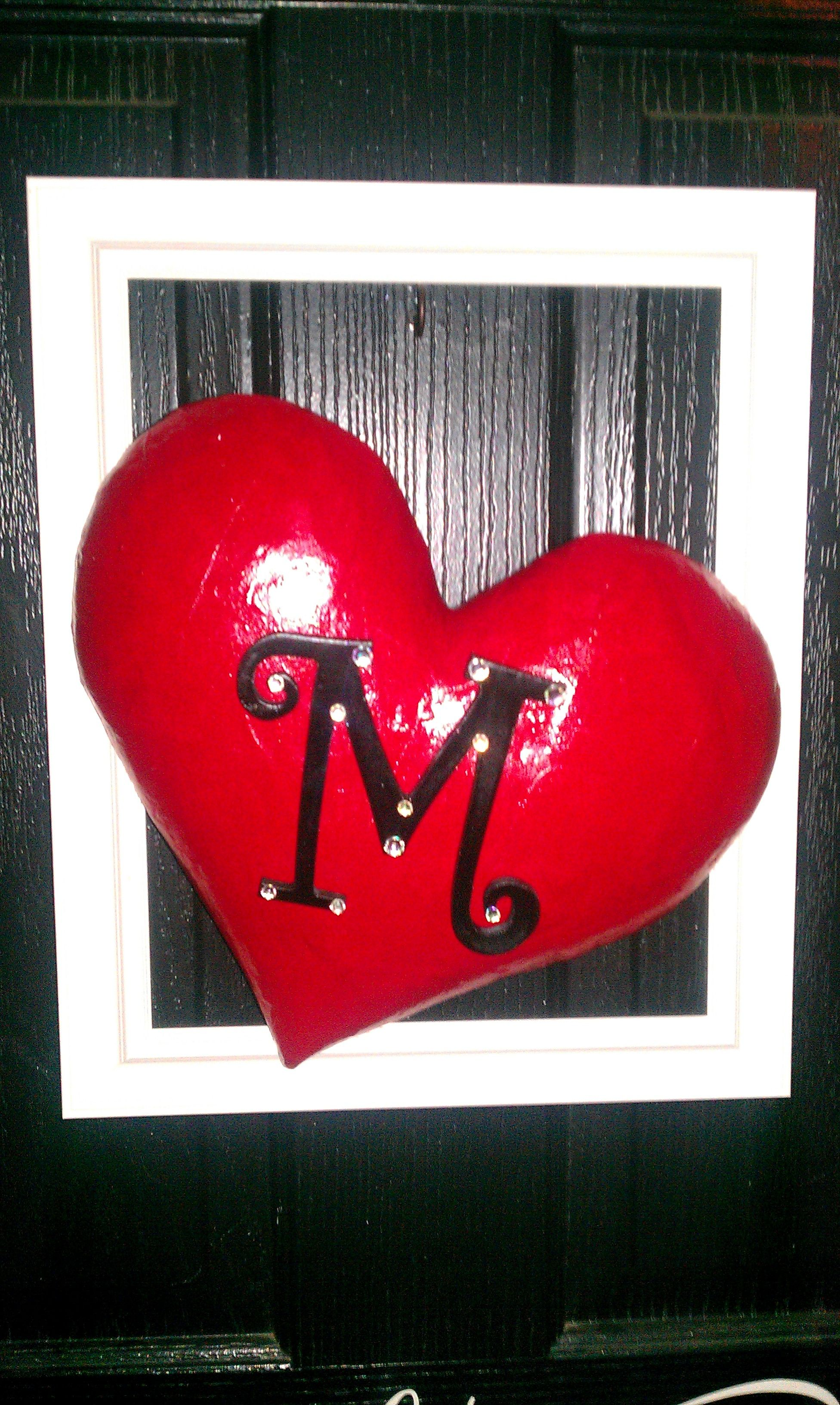 Picture Frame With Paper Mache Heart Letter M Jems A Gift For