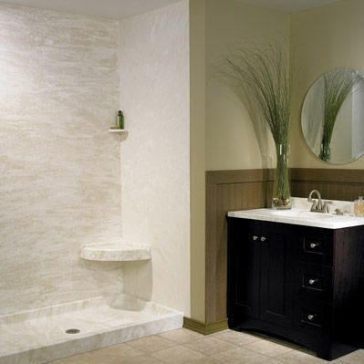 Swanstone walls and shower pan. Minimal grout lines. | Bathroom ...