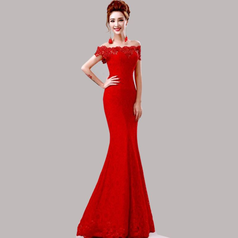 Hot Sale off the shoulder Cheap Mermaid Red Lace Long Bridesmaid ...
