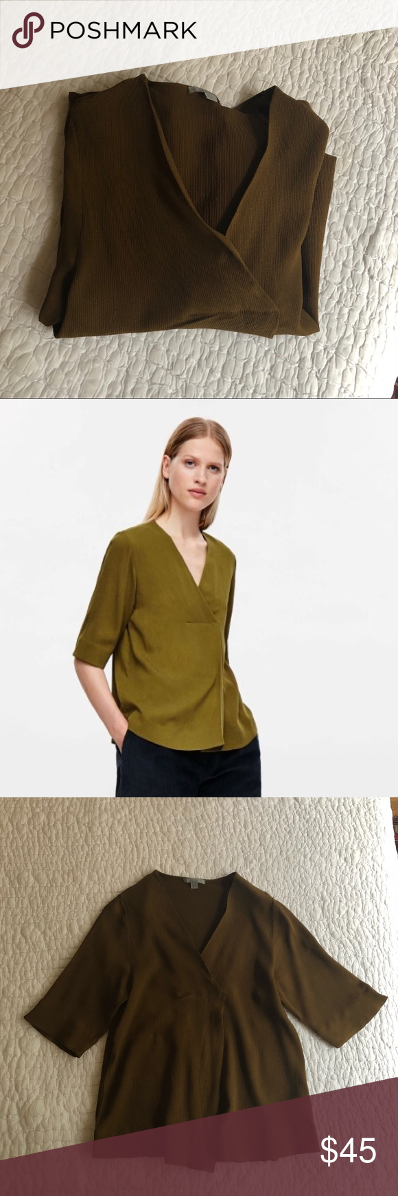 0bbfaed3e92b Cos Crossover Top V-neck top in the most beautiful shade of dark mustard  yellow! 100% cupro. Dry clean only. Size 4 but could also fit a size 2.