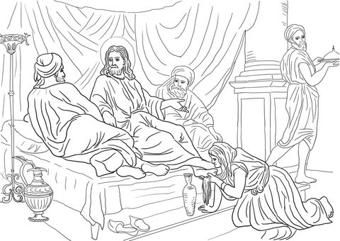 Woman Washing Jesus Feet With Her Hair Coloring Page Coloring