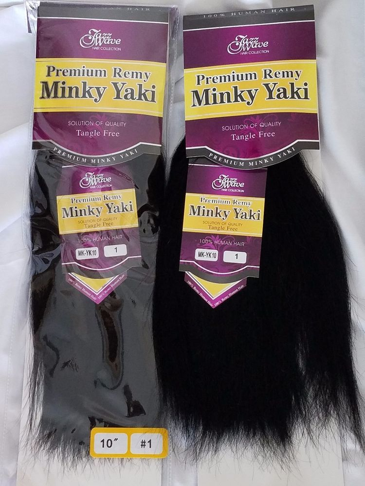 Jazz Wave Premium Remy Minky Yaki 100 Human Hair Weave 10 Black