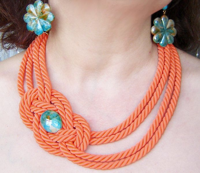 Pumpkin rope knot necklace and earrings. Set #ropeknots