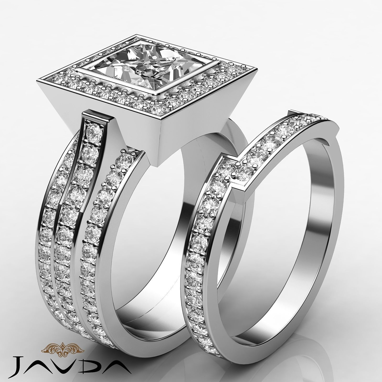 Princess diamond bridal set solid pave engagement ring gia g vs