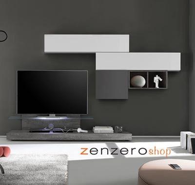 Photo of Parete attrezzata moderna di design, rovere grigio e bianco lucido – 249×190 cm