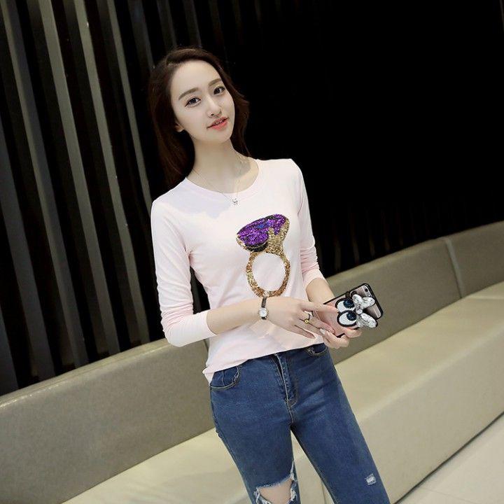 CW46569 Sequins pure cotton T-shirt slim tops for women