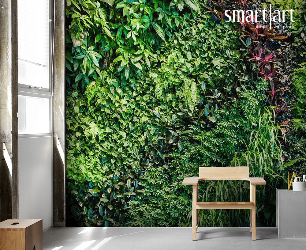 Smart Art Wallpaper Green Garden Wall Leaves Plants Interior Ideas Custom Large Format Printing Ivy Aloe Greenery In 2020 Affordable Wallpaper Garden Wall Green Garden