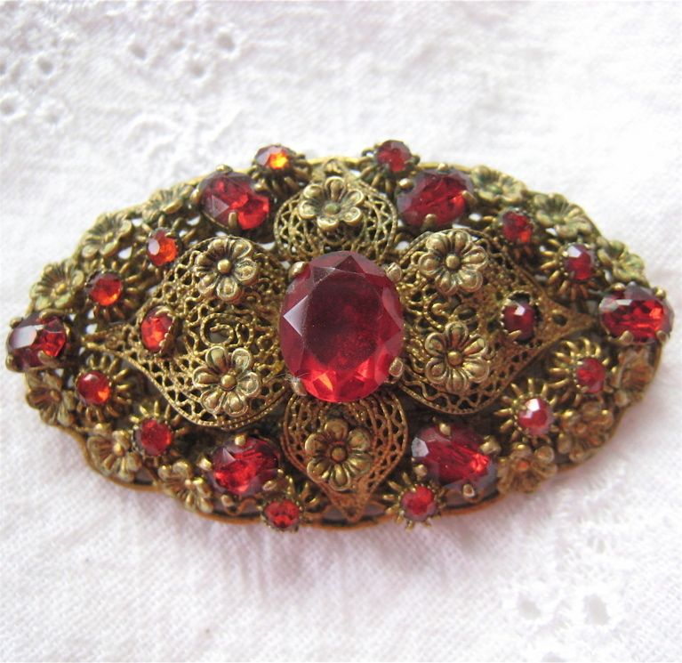 18a91dc60701f Vintage Filigree Floral Layered Brooch Red Rhinestones Probably ...
