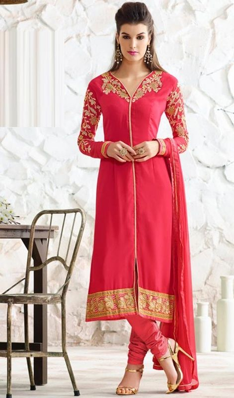 Red Color Georgette Embroidered Churidar Kameez