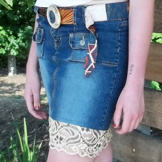 Jean skirt with lace trim by ArteriesbyStina on Etsy, $25.00
