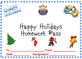 Holiday Homework Pass | Student gifts | Pinterest | Holiday ...