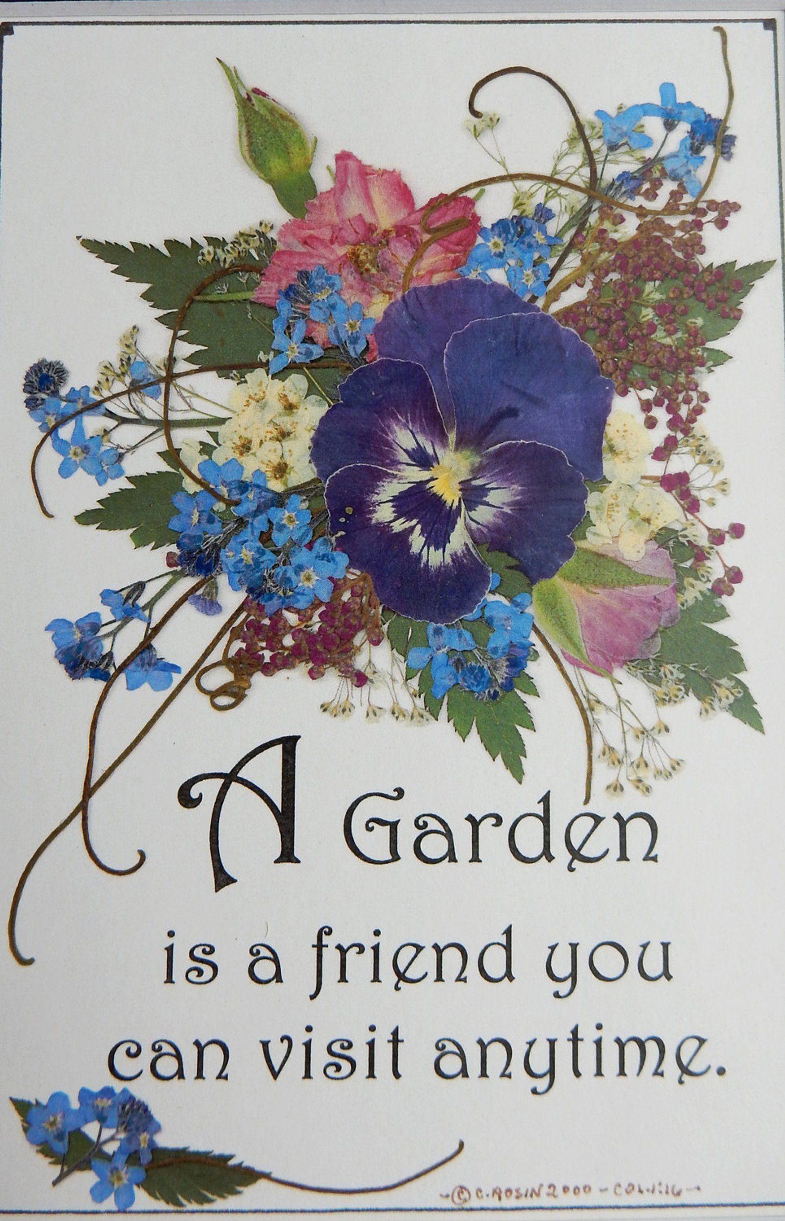 Garden gift gift for gardener garden verse pressed
