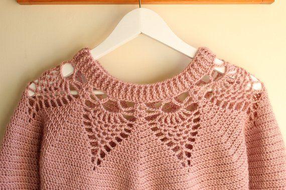 Adelaide Lace Sweater Crochet pattern/ women's crochet sweater/ women's crochet jumper/ crochet pullover/ crochet pattern/ women's clothing #sweatercrochetpattern