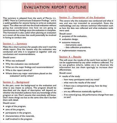 Evaluation Report Outline Template PDF   Program Evaluation ...