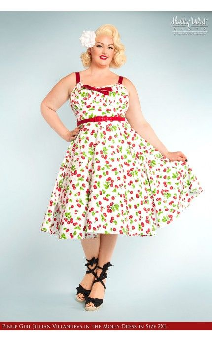 Molly Dress in White Cherry Print - Plus Size