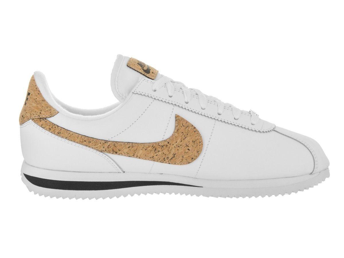 Nike Hombres Blanco Cortez Basic Leather Premium Blanco Hombres  Blanco Negro Blanco 45d90c