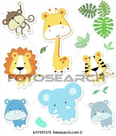 cute, vetorial, animais Ampliar Gráfico Clipart
