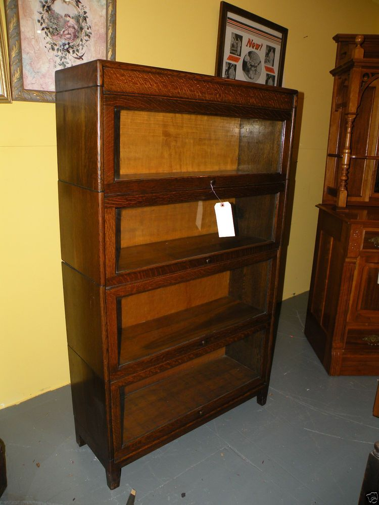 ANTIQUE MISSION STYLE OAK BARRISTER BOOKCASE DISPLAY