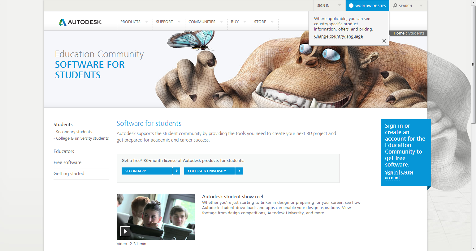 free student software education community autodesk