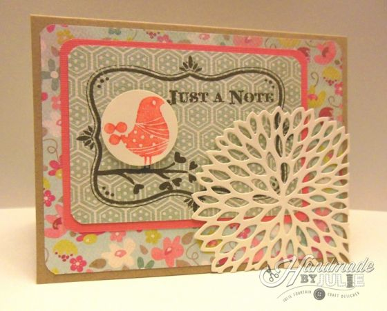 Just a Note! Stamp and die cut by Hero Arts, patterned paper from My Mind's Eye Collectable | HandmadebyJulie.com