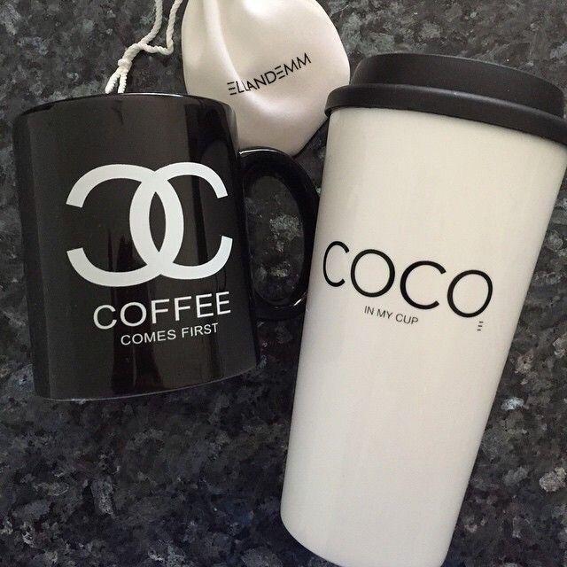 2557c06f146 Black Chanel logo coffee mug,white reusable Chanel coffee cup ...