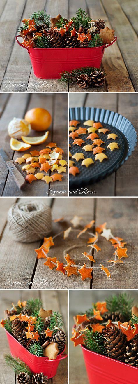 Ein Deko-Korb mit in Sternchenform ausgestanzten, getrockneten Orangen-Schalen. #weihnachtsbastelnnaturmaterialien