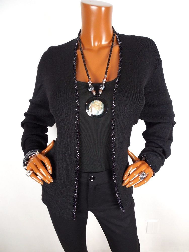 SIGRID OLSEN Womens Top XL Dressy Black Cardigan Blouse Bead Trim ...
