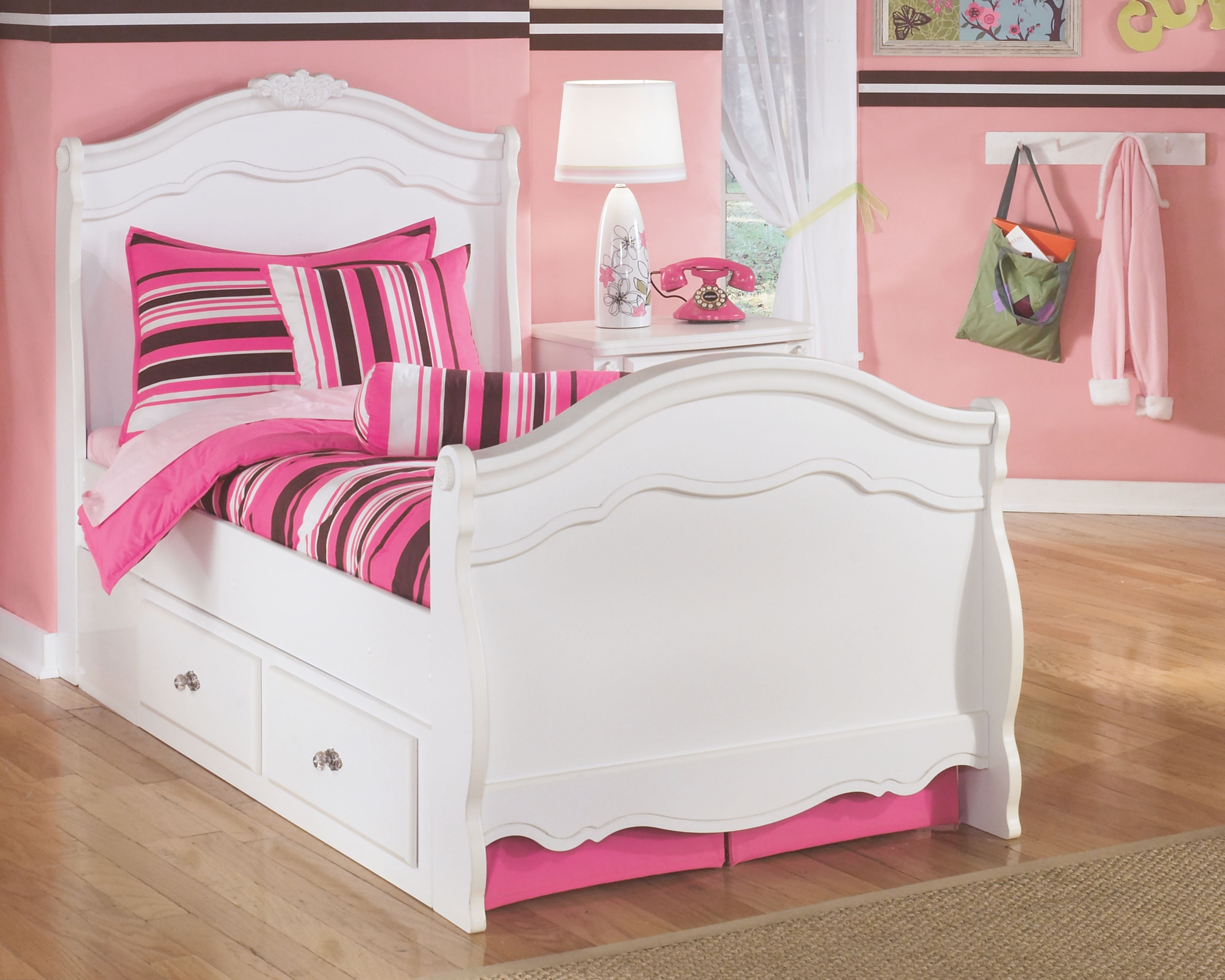 Exquisite Twin Sleigh Bed with Storage, White Products