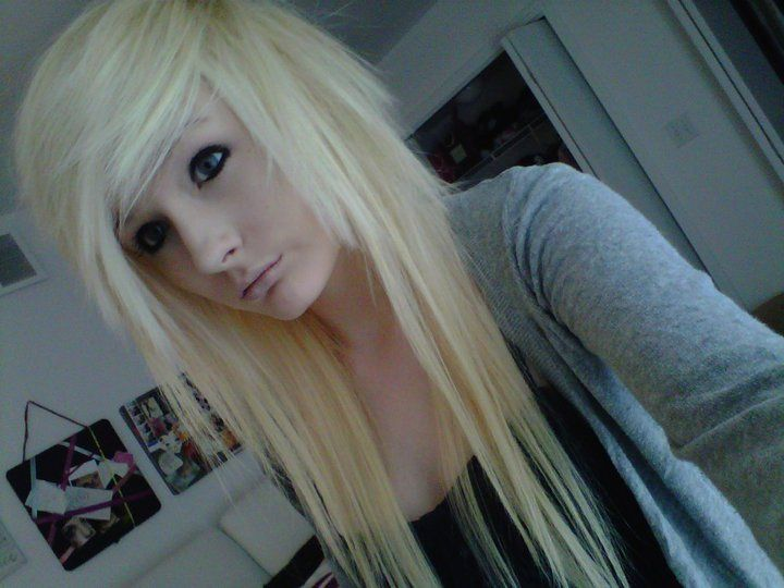 Crazy blonde emo teen