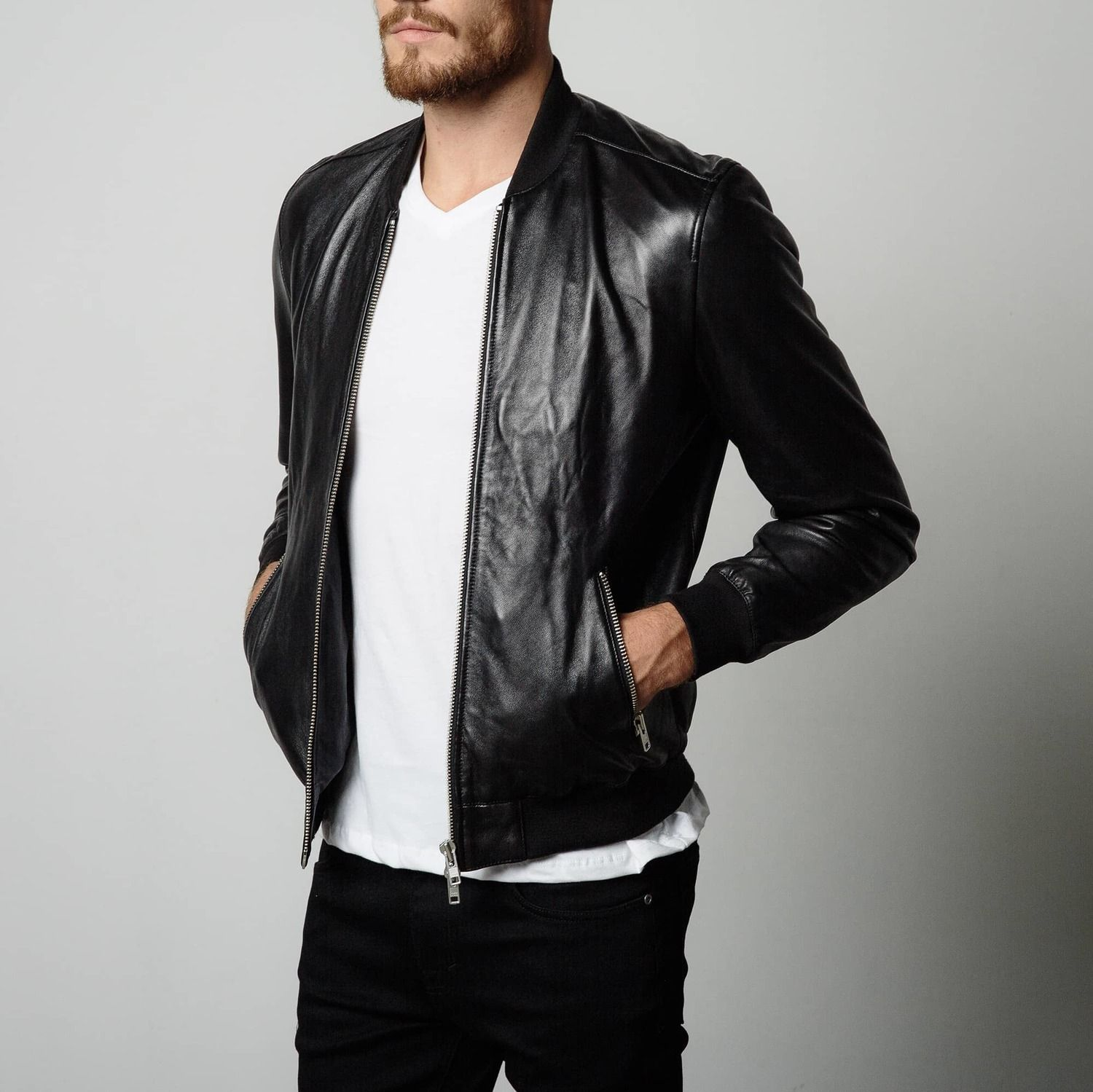 [Bomber Jacket] Leather Bomber Jacket in Black Mens