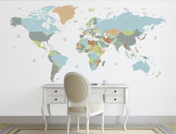 World map decal political world map wall decal wall sticker world map decal political world map wall decal wall sticker removable new gumiabroncs Image collections