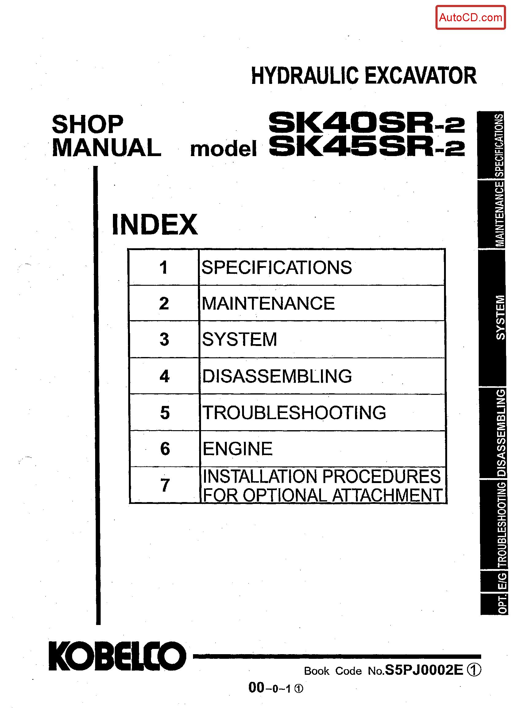Kobelco Sk40sr 2 Manual In 2020 Hydraulic Excavator Excavator Repair Manuals