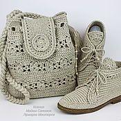 770e4dcec225 Купить или заказать Льняные ботиночки вязаные сумка комплект в интернет  магазине на Ярмарке Мастеров. С
